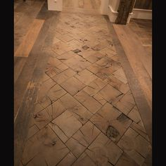 Accent End-Grain Floor From Reclaimed Timbers.