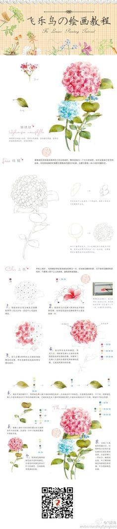 #教程#水彩绣球花,开遍一片繁花似锦。