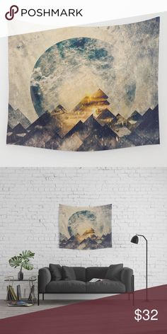 "Society 6 wall hanging mountains earth boho New $46 Society 6 wall tapestry made by HappyMelvin. Titled: One Mountain At A Time.  51"" x  60"". It is perfect for the nature loving sacred geometry buff. It has a cool sci fi look to it as well. Would make an excellent gift. Perfect for hanging up at your festival campsite. Tags: bohemian hipster urban outfitters free people Coachella free people gypsy spell boho wall art home decor society 6 Other"
