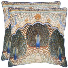 Safavieh Raj Peacock 20-inch Ivory/ Purple Decorative Pillows (Set of 2) - Overstock Shopping - Great Deals on Safavieh Throw Pillows