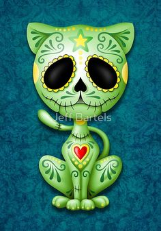 'Cute Red Day of the Dead Kitten Cat' Art Print by jeff bartels – Art drawings - Malvorlagen Mandala Sugar Scull, Sugar Skull Cat, Sugar Skull Tattoos, Tableau Pop Art, Day Of The Dead Art, Red Day, Cat Art Print, Candy Skulls, Desenho Tattoo