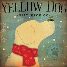 Yellow Dog Mistletoe Company graphic artwork on by geministudio, $65.00