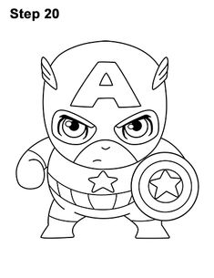 Cute Captain America Coloring Pages Captain America Drawing, Captain America Coloring Pages, Captain America Party, Ninjago Coloring Pages, Colouring Pages, Coloring Sheets, Iron Man Drawing, Dream Drawing, Colorful Party