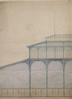 Sección-alzado de les Halles de Victor Baltard (Paris, 1851).