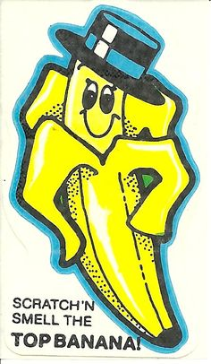 Vintage 80's Mello Smellos BANANA Scratch and by Stuckonstickers, $2.75