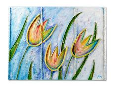 Tulips Collage Painting by Natalia Madunicka on Etsy  #flower #tulips #collage #painting #gift #present #colourful #decoration #original #art