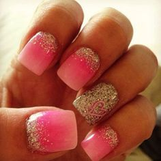 Check out that sweet, heart, on the all sparkle nail.