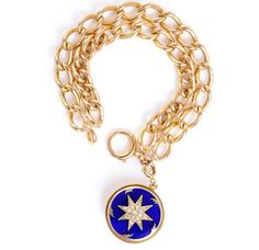 The yellow gold double chain #bracelet with the #diamond #star patterned circular drop by @turnerandtatler is unique and eye catching! #vintage #accessories #bold