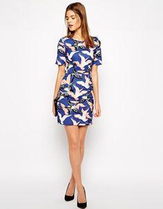 Image 4 ofWarehouse Textured Bird Print Dress
