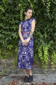Folky blue - letné midi šaty   AIDASTYLE - SAShE.sk - Handmade Šaty a1f33b16209