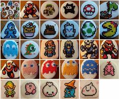 Yet even more micro-stitches on buttons! Cross stitch buttons, and gaming sprites! Tiny Cross Stitch, Beaded Cross Stitch, Cross Stitch Embroidery, Cross Stitch Patterns, Embroidery Patches, Embroidery Patterns, Knitting Patterns, Make Your Own Buttons, Stitch Patch