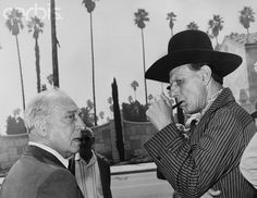 Buster Keaton and Iron Eyes Cody at Hoot Gibsons funeral 1962