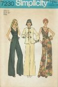 An original ca. 1975 Simplicity Pattern 7230.  The jumpsuit with pants and surplice bodice gathered to front midriff has back zipper, self tie ends tied in front and pockets concealed in side seams. The lined jacket encased in fold over braid has Mandarin collar, slits in side seams, front frog closing and long set-in sleeves with slits and frog trim.