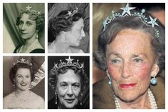 The Princess Ingeborg Star Tiara | A Tiara a Day-Once owned by Princess Ingeborg of Denmark, it went to her daughter Princess Margaretha, and eventually it was left to Countess Ruth of Rosenborg.  Today it is owned by Ruth's daughter-in-law, Countess Jutta.  Photos (clockwise from top left): Princess Ingeborg of Sweden; Princess Margarethaa of Denmark; Countess Ruth of Rosenborg; Princess Margaretha of Denmark; Princess Anne of Denmark.