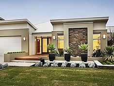 Single Story Home Plans, Floor Plans, Home Design. See more about small house plans, contemporary home plans and modern house plans. Home Design, Modern House Design, Modern House Facades, Plan Design, Design Ideas, Flat Roof House, Facade House, Contemporary House Plans, Modern House Plans