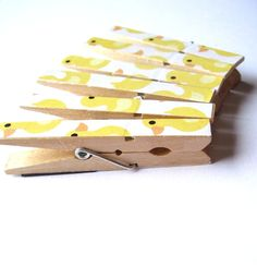 Duck Clothespin Magnets Yellow Duck Magnets by HayleysPaperLove  Cute to hang his 1st year milestones from