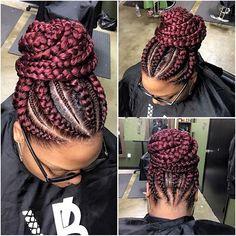 Layered Micro Box Braids - 40 Ideas of Micro Braids, Invisible Braids and Micro Twists - The Trending Hairstyle Ghana Braids Hairstyles, Braided Bun Hairstyles, African Hairstyles, Cornrows Updo, Braided Prom Hair, Braided Ponytail, Fishtail Braids, Big Braids, Black Girl Braids