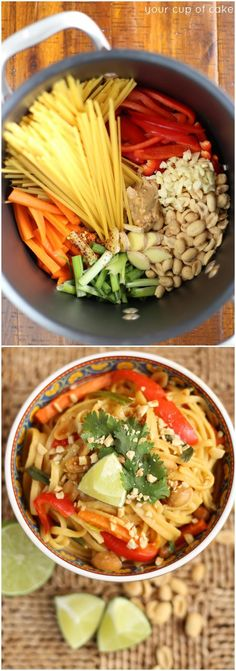 With Whole Wheat Linguine 1 Pot Thai Peanut Pasta, because one pot meals are the best Vegetarian Recipes, Cooking Recipes, Healthy Recipes, Vegetarian One Pot Meals, Vegetarian Pad Thai, Cooking Tips, One Pot Pasta, I Love Food, Pasta Dishes