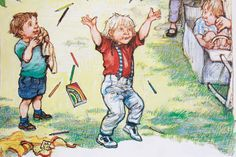Alfie at Bernard's birthday party: Shirley Houghs British author/illustrator Playground Painting, Shirley Hughes, Vintage Artwork, Book Illustration, Vintage Postcards, Childrens Books, Illustrators, Images, Fictional Characters