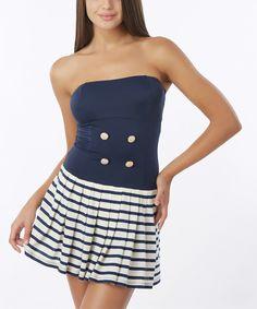 Navy Stripe-Skirt Strapless One-Piece by Sunset Swim