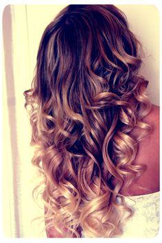 freakin beautiful!!! ombre hair , curls, carmel blonde dark brown, beautiful hair