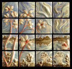 Natalie Blake Studios #ceramic #tile #mural of Saxifrage flowers in Alaska for a public art grant