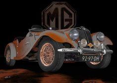 MG Midget TF in black & rust-grey