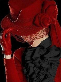 victorian.... red... gloves