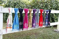 Love these monogramed scarves from Initial Outfitters!  I have 2 and get compliments on them all the time!!