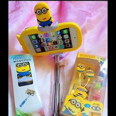 Bundle Minions Selfie Stick & Earphone New and high quality Great stereo sound quality   This earphone supports ipod ,PDA, PSP, Laptops, MP3,MP4,CD/DVD players with a 3.5mm headphone / earphone output jack Connection: 3.5 mm stereo。Mini Monopod Selfie Stick For Self stick android Palos Selfie Wired Holder Monopod No bluetooth For All Smart Phone.   Product Features:   1. -3.5M Bluetooth audio links without pictures Accessories
