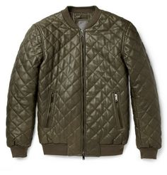 Lot78 Quilted-Leather Bomber Jacket
