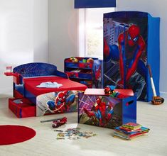 15 Kids Bedroom Design with Spiderman Themes Boys bedroom sets, Boys bedroom furniture, Kids Cool and Ergonomic Bedroom Ideas for Two Chil. Toddler Bedroom Furniture Sets, Boys Bedroom Sets, Boy Toddler Bedroom, Boys Bedroom Decor, Bedroom Themes, Boy Room, Kids Room, Kids Furniture, Cream Furniture