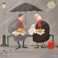 'Chat and Chips In The Rain' By Painter Jennifer Verny-Franks.  Blank Art Cards By Green Pebble. wwwgreenpebble.co.uk