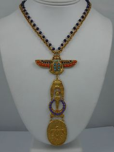 Askew London Long Winged Scarab 'Egyptian Revival' Drop Necklace