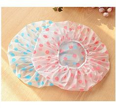 Dealglad New 3Pcs Fashion Lovely Thicken Elastic Waterproof Plastic PVC Bathing Shower Cosmetic Care Hair Cap Hat (Pink)