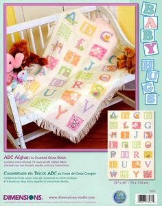 """Baby Hugs ABC Afghan Counted Cross Stitch Kit 29""""x45"""" 18 Count 