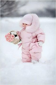Little Pink Snow Angel cute photography pink sweet winter baby snow roses basket