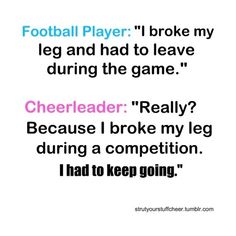 cheer quote ❤ hahaha so funny cause I know football players(: hahaha
