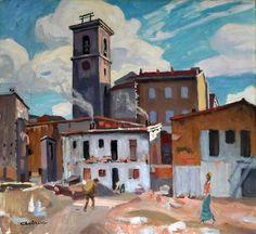 Eglise St Lazare et gitanes au Raccati-Huile sur toile (65x54 cm)-Edmond Astruc