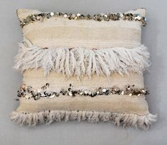 I need to mimic this! - Gorgeous cushion from Red Thread Souk made out of an authentic vintage Moroccan wedding blanket. Shiny sequins and feathery tassles. White home decor. Boho Cushions, Large Cushions, White Home Decor, Black Decor, Moroccan Wedding Blanket, Living Room Red, Room Paint Colors, Pillow Room, Bohemian Living