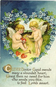 Victoriana cupid | victorian-valentines-two-cherubs-cupid-hearts-blue-flowers