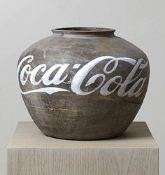 This artwork, Coca-cola vase by Ai Weiwei - the new above the old - the age of promotion, sticking a name on everything. Ai Weiwei, Chinese Contemporary Art, Contemporary Artists, Modern Art, In China, Wei Wei, Conceptual Art, Art Plastique, Teaching Art