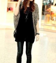 Batwing Sleeved Loose Leopard Shirt