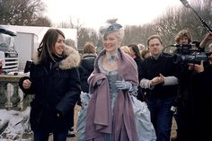 Sofia Coppola with actress Kirsten Dunst on the set of Marie Antoinette