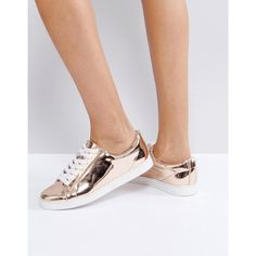 Faith Rose Gold Lace Up Trainers (24.605 CLP) ❤ liked on Polyvore featuring shoes, sneakers, gold, flat shoes, ballerina shoes, ballet shoes, lace up ballet shoes and lace up shoes
