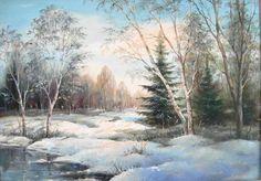 Зимний пейзаж маслом: Как нарисовать зимний пейзаж маслом на холсте