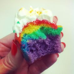 rainbow cupcake with a cloud on top!
