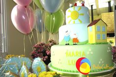 Decoração Peppa com balões duplos. Créditos:  Balão Cultura www.boxbalao.com Peppa Pig, Birthday Cake, Pastel, Desserts, Ideas Para Fiestas, Colors, Culture, Birthday Cakes, Cake