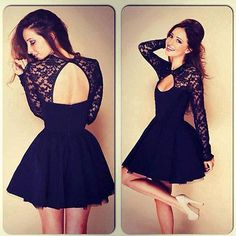 UK Size 6 8 10 12 14 Womens Floral Lace Long Sleeve Backless Party Mini Dress in Clothes, Shoes & Accessories   eBay