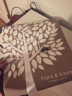 Wishwik Burlap Wedding Tree Print | Guest Book Alternative | 75 Signature Spaces | Rustic Wedding | Customer Photo | Wedding Color - Black | peachwik.com